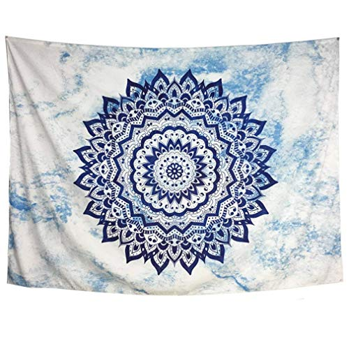 Heopapin Wall Tapestry Wall Hanging Mandala Wall Tapestry for Bedroom Bohemian Tapestry Psychedelic Tapestry Hippie Wall Blanket Indian Tapestry Dorm Home Decor (Sky Blue, M) - Blue Tapestry