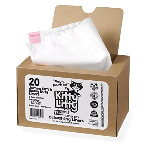 Extra Heavy Duty Jumbo Cat Litter Box Liners 20 Count Cat Waste Liners