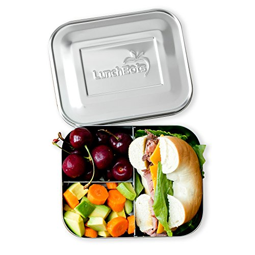 LunchBots Trio II Stainless Steel Food Container - Three Section Design Perfect for Healthy Snacks, Sides, or Finger Foods On The Go - Eco-Friendly, Dishwasher Safe and BPA-Free - All Stainless by LunchBots (Image #4)