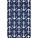 Ln 5x8 Blue White Nautical Anchors Area Rug Rectangle Shaped, Indoor/Outdoor Navy Boat Carpet for Patio Ocean Coastal Beach Themed Lake House Cottage Ship Sailboat Sea Water, Polypropylene