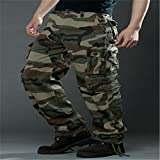Meolin Men's Cotton Breathable Army Camouflage Cargo Pants Multi Pocket Military Casual Training Pants ,Green Camo,38