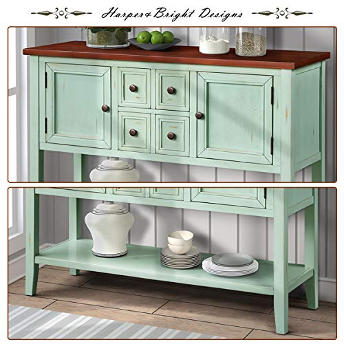 P PURLOVE Console Table Buffet Table Sideboard with Four Storage Drawers Two Cabinets and Bottom Shelf (Blue) by P PURLOVE (Image #8)