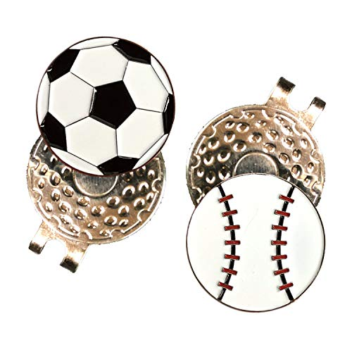 FCREW Golf Ball Markers and Hat Clips with Magnet (Ball 1) (Soccer Golf Ball Marker)