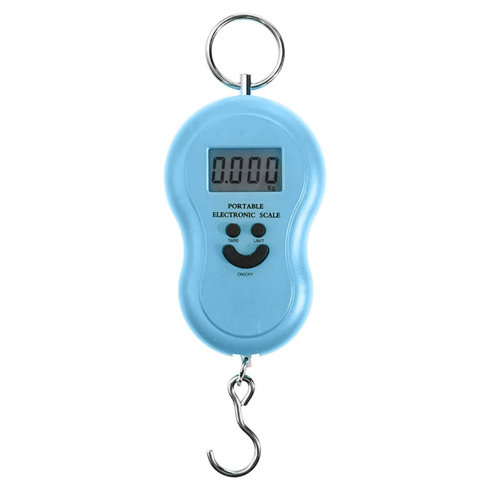 Alamana 50Kg/10g Mini Digital Smile Face Pattern Backlight Hanging Scale Luggage Bag Weight Tool Blue