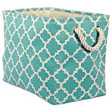 DII Printed Polyester, Collapsible and Convenient Storage Bin to Organize Office, Bedroom, Closet, Kid's Toys, Laundry  -  - Large Rectangle, Aqua Lattice,