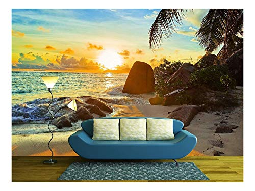Tropical Beach At Sunset Nature Background - Wall Murals