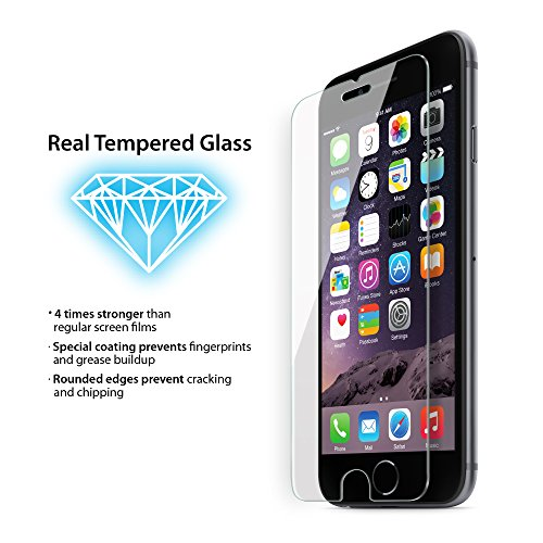 iPhone 6 Plus Tempered Glass (0.4mm) by iLuv - Easy-to-Apply Impact Resistant Tempered Glass Screen Protector - Package Includes: Glass Screen, Alcohol Towelette, Microfiber Cloth, Dust Removal Adhesive (AI6PTEMF)