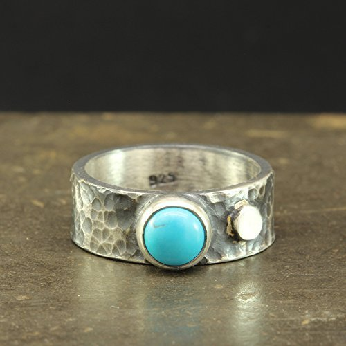 (Natural Turquoise Ring 925 Sterling Silver Oxidized Blackened Rustic Handcrafted Hammered Designer Hand Forged Gemstone Black Band Ring )