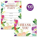 Birthday Party Invitations & Thank You Cards Matched Set ( 100 of Each ) Envelopes Included, Lovely Flowers Large Office Church B'day Party Fill-in Guest Invites & Folded Thank You Notes Great Value