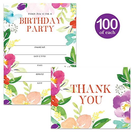 Birthday Party Invitations & Thank You Cards Matched Set ( 100 of Each ) Envelopes Included, Lovely Flowers Large Office Church B'day Party Fill-in Guest Invites & Folded Thank You Notes Great Value by Digibuddha