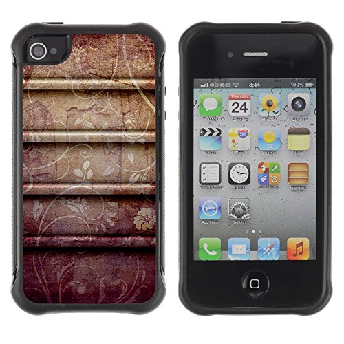 All-Round Hybrid Rubber Case Hard Cover Protective Accessory Compatible with Apple iPhone 4 & 4S - petal rustic pattern flowers