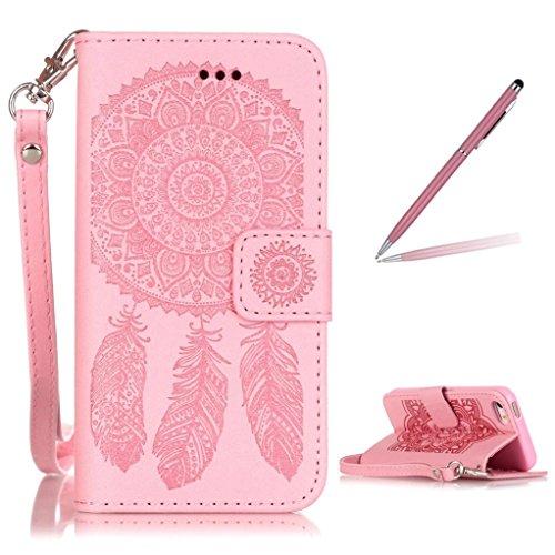 Trumpshop Smartphone Carcasa Funda Protección para Apple iPhone 5/5s/SE + Oro + PU Cuer Caja Protector con Función de Soporte Ranuras para Tarjetas Crédito Choque Absorción + 3 regalos Rosa