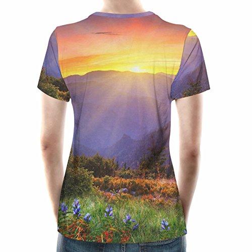 Perfect Mountain Sunset Women Cotton Blend T-Shirt Damen XS-3XL
