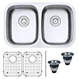 Ruvati 29-inch Undermount 50/50 Double Bowl 16 Gauge Stainless Steel Kitchen Sink - RVM4301