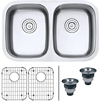 ruvati 30 inch low divide undermount tight radius 50 50 double bowl rh amazon com