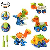 HOMOFY Take Apart Toys Dinosaur Toys(Pack of 5) Assembling Puzzle Instructive & Interesting Construction Play Set Interllectual Toys Removable Toys The Best Gift for Kids (Color Main) (A)
