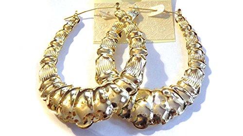Oval Bamboo Hoop Earrings Gold Tone 3 Inch Hoop Earrings