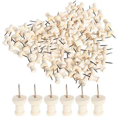 Wode Shop 100 Pcs Wood Push Pins, Wooden Head Pins Steel Thumb Tacks For Cork Boards Map Photos Home Office Craft Projects