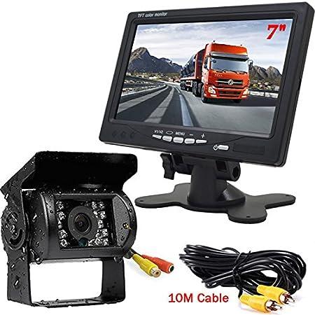 18LEDs IR Visión nocturna Impermeable Vista trasera Cámara Con 1OM video Cable + 12V-24V 7