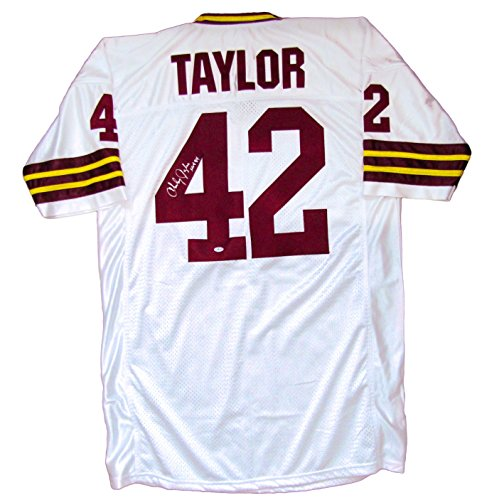 (Charley Taylor Autographed Custom Jersey (1972) - Washington Redskins Hall of Fame Inscription)