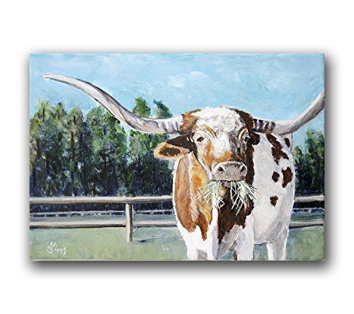 Cow Art Print Texas Longhorn for your Rustic Farmhouse Wall Home Decor, size mat option