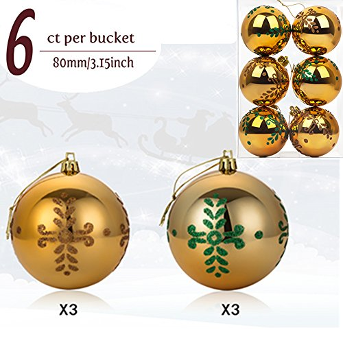 """Christmas Ball Ornaments, 6ct Delicate Pine Leaf Painting Shatterproof Christmas Decorations Tree Balls Big for Holiday Wedding Party Decoration, Tree Ornaments Hooks included 3.15"""" (80mm Gold) Disney Themed Christmas Cards"""