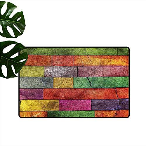 Rainbow Timber - Pet Door mat Rustic Rainbow Timber Art Personality W16 xL24