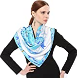 Jeelow 100% Pure Silk Scarf Scarves For Men & Women 36in Square Silk Twill Scarfs For Hair Gift Packaging