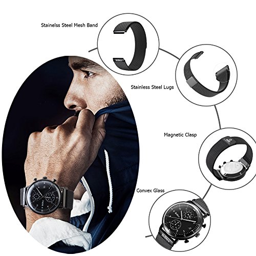 Amazon funkytop black 20mm quartz analog day date casual mens amazon funkytop black 20mm quartz analog day date casual mens mesh watch with magnetic stainless steel watch band watches stopboris Gallery
