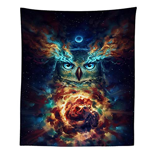 Photo Moonlight (Boyouth Tapestry Wall Hanging,Psychedelic Colorful Owl Under Moonlight Picture Digital Print Wall Tapestry Art Home Decorations for Living Room Bedroom Dorm,59.1