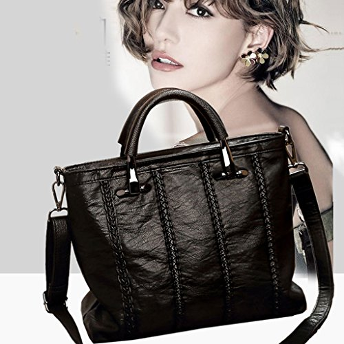 Color bolso hombro del el del Black compartimiento el para mujer de totalizador de del con la mensajero la la de Black bolsa bolsa de Bolso de hombro bolso negro de trabajo 0qxfaZ