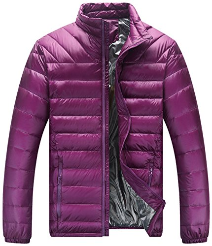 Collar Shell Chouyatou Full Basic Men's Zip Purple Jacket Soft Down Quilted Puffer nqErEYwf