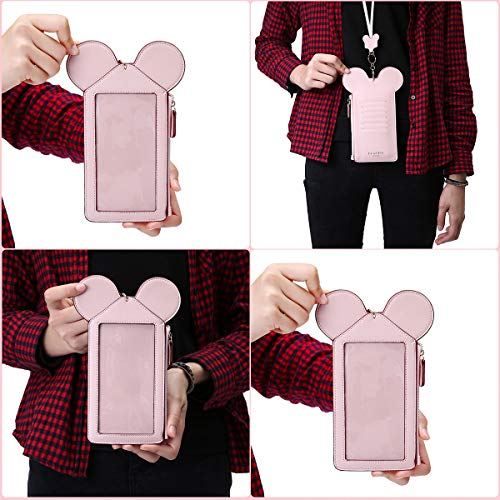 Neck Pouch, Charminer Women Cute Animal Shape Lanyard Phone Purse Neck Bag Travel Documents, Card Holder Coin Purse Neck Bag for 4.7/5.5in Phones Light Pink 4.7in by CHARMINER (Image #7)