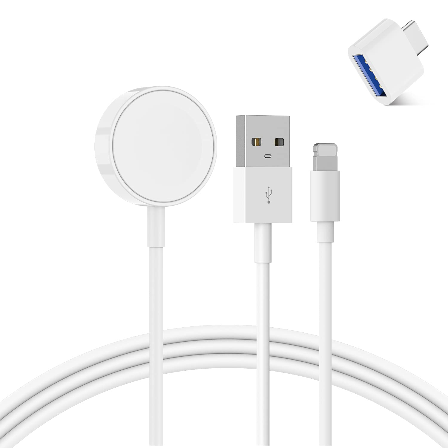 Watch Charger Magnetic Watch Charger Wireless Charging Cable Cord Compatible with Apple Watch Series SE/6/5/4/3/2/1 &iPhone 12/11/11 Pro MaxXS/Max/X/8/7 &iPad Series 3.3FT (1M)