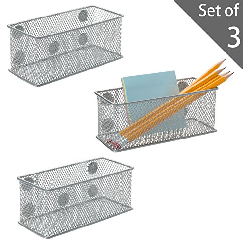 Set of 3 Metal Mesh Magnetic Storage Bins, Office Supplies Organizer Baskets, Silver by MyGift