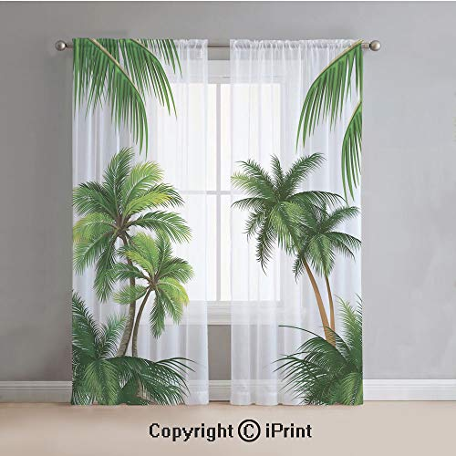 Tropical Sheer Curtains Window Voile,Coconut Palm Tree Nature Paradise Plants Foliage Leaves Digital Illustration,for Bedroom,Living Room,Kitchen,2 Panels Set,54x84Inches,Hunter Green - Palm Tree Bamboo Curtain
