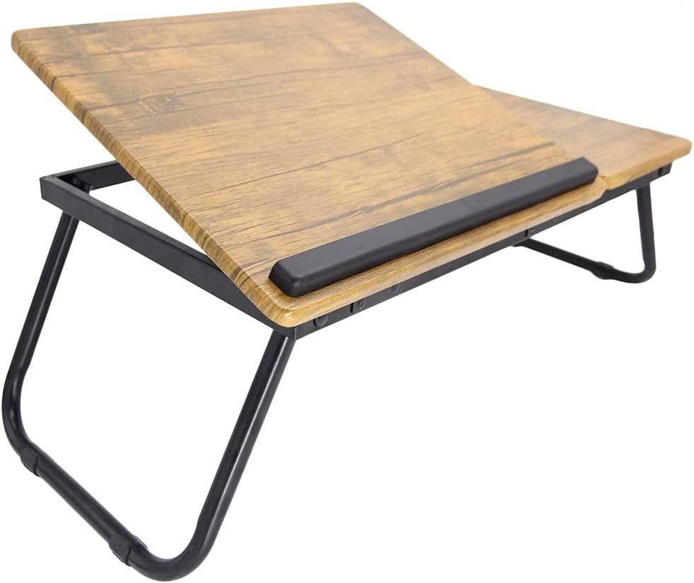 Wood Foldable Laptop Desk, Premium Laptop Stand with Adjustable Tilt Angle, Bed Table Serving Tray for Breakfast, Working, Reading, Watch Movie