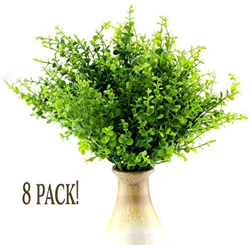 [Artificial Shrubs (8-Pack); Faux Plastic Leafy Green Imitation Boxwood Plants for Decorating Indoor & Outdoor] (Shrubbery Halloween Costume)