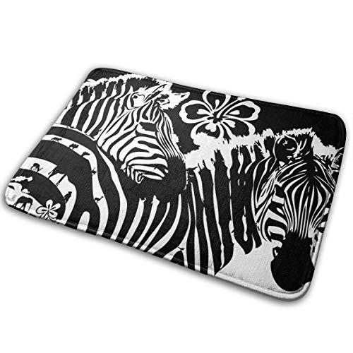 (Kui Ju Non-Slip Doormat Entrance Rug Fade Resistant Floor Mats Zebra Background Shoes Scraper 23.6x15.7x0.39Inch)