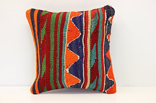 Handmade kilim pillow cover 14x14 Inch (35x35 cm) Natural Kilim pillow cover Turkish Kilim Pillow Cover Home Decor Rustic Kilim Cushion Cover (35 Cm Natural)