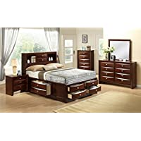 Roundhill Furniture Emily 111 Wood Storage Bed Group, King Bed, Dresser, Mirror, 2 Night Stands, Chest, Mahogany, Merlot