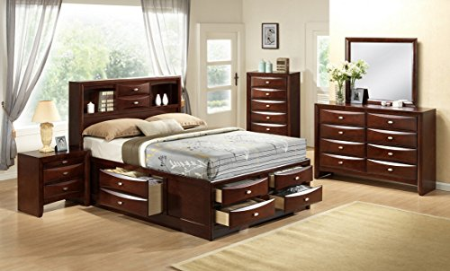 Roundhill Furniture Emily 111 Wood Storage Bed Group, King Bed, Dresser, Mirror, 2 Night Stands, Chest, Mahogany, Merlot ()