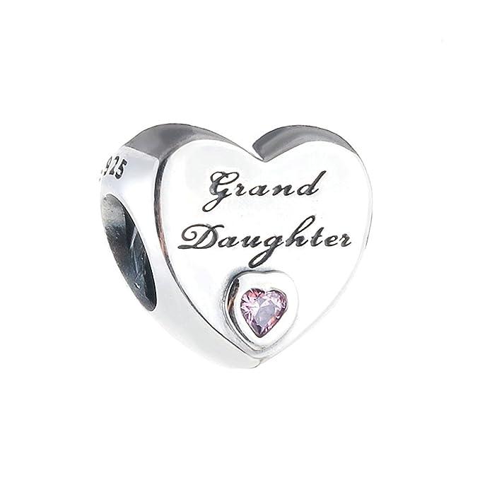 cooltaste Otoño nieta del amor Rosa Corazón Cz Perlas 925 Plata Esterlina bricolaje encaja para Original Pandora pulseras encanto moda joyería: Amazon.es: ...