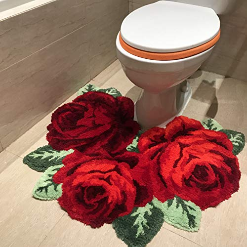 USTIDE Shaggy Bathroom Rug Toilet Mat Red Rose Plush Water Absorbent Accent Rug for Bathroom Vanity, Bathtub/Shower, Machine Washable,31