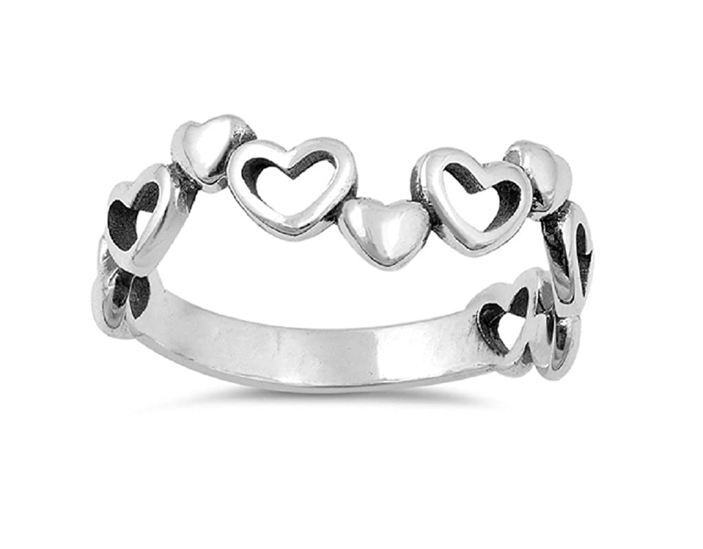 Princess Kylie Oxidized Sterling Silver Alternative Hearts Designer Ring