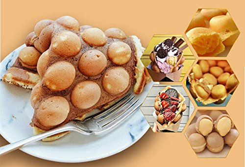 VEVOR Electric Egg Puffle Waffle Maker 1400W 110V Nonstick Eggettes Maker Making Machine HK Style Stainless Steel Electric Puff Egg QQ Muffin Cake Bread Belgian Bubble Waffle Maker (110V) by VEVOR (Image #7)
