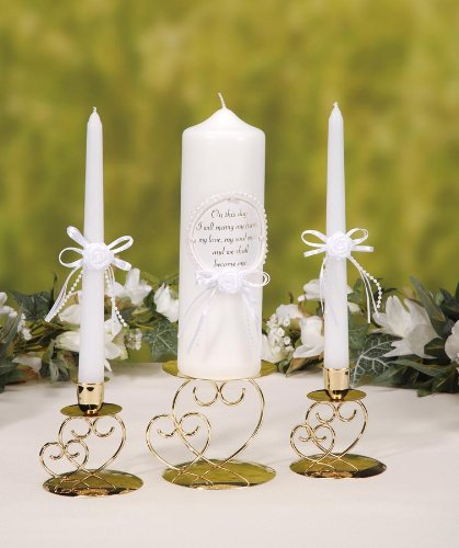 Daricevictoria Lynn Unity Candle Set with Verse - Pearl Finish