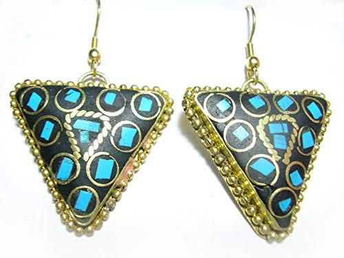 Stone Inverted Pendant (Pair Tibetan Inverted Triangle Turquoise Gemstone Inlay Brass Pendant Earrings)