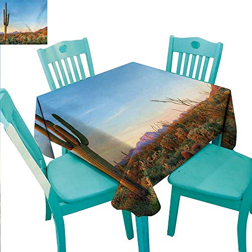 "WilliamsDecor Saguaro Elegance Engineered Christmas Tablecloth Sun Goes Down in Desert Prickly Pear Cactus Southwest Texas National Park Indoor Outdoor Camping Picnic 70"" Wx70 L Orange Blue Green"
