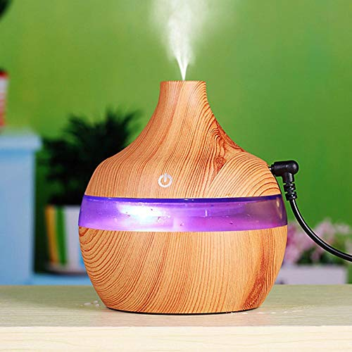 Eletric Wood Grain Ultrasonic Essential Oil Diffuser Cool Moisture Aroma Humidifier Electric Air Freshener with 7 Color Changing Nightlights for Home & Ofiice Light Wood by BleuMoo (Image #3)